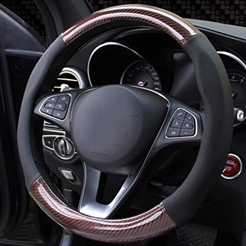 ZXPT Kohlefaser Leder Lenkradabdeckung Auto Lenkradabdeckungen Radnabe Cases Protector Für BMX Audi Mercedes Sportwagen