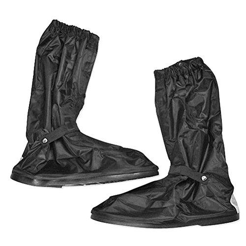 Pixonr Gli uomini pioggia calzari con impermeabile antiscivolo in gomma spessa suola impermeabile alto taglia XL (nero)