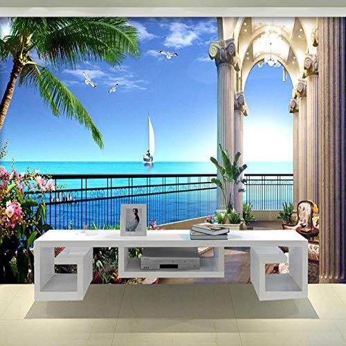 Papier Peint Photo Papier Peint Photo 3D Papier Peint 3D Développer L'espace Balcon Vue Sur La Mer Salon Tv Fond Mur Décor Papier,450X300cm
