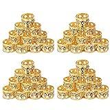 Golden Rule 40 piezas rastas trenzado cuentas con Crystal oro puños de metal accesorios para el cabello decoración