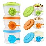 Zooawa Baby Milchpulver-Box, Milchpulver Spender BPA Frei Milchbox 3 Stück und Snack Aufbewahrungsbox für Kleinkinder, Mittlere Farbe