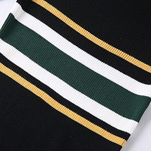 Futurino Femmes Mock Neck manches longues à rayures tricot chandail Midi Slim robe Black