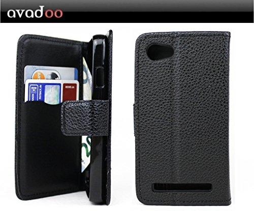 avadoo® Archos 40 Power Flip Case Cover Tasche Schwarz mit Magnetverschluss und Dualnaht als Cover Tasche Hülle