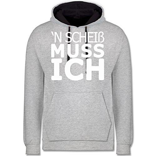 Statement Shirts - 'N Scheiß muss ich - Kontrast Hoodie Grau meliert/Dunkelblau