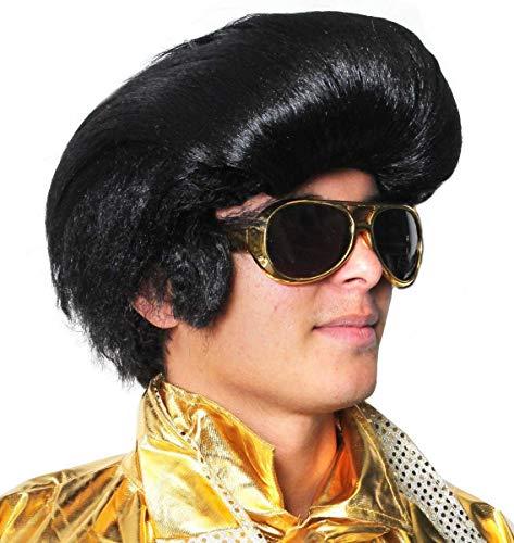 Seemeinthat Elvis Perücke für Erwachsene, Elvis, Perücke mit Elvis Sonnenbrille, King of Rock N Roll Quift, 1950er Jahre.