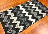 Trendcarpet Teppich 135 x 190 cm (baumwollteppich) - Dalarna (schwarz/grau/weiß) Größe 135 x 190 cm