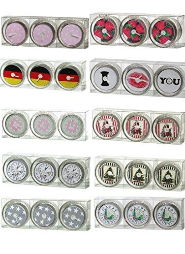 3 Glas - Teelichter mit Dauermotiv (wiederverwendbar),Motiv bleibt beim Abbrand sichtbar, MEGA Auswahl an Motiven, Sterne, Früchte, Liebe, Deko (Deutschland-Flagge)