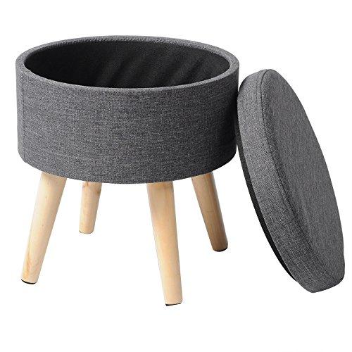 WOLTU Sitzhocker mit Stauraum Fußhocker Aufbewahrungsbox, Deckel Abnehmbar, Gepolsterte Sitzfläche aus Leinen, Massivholz, Dunkelgrau, SH08dgr-1