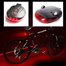 Electomania® 5 LED Tail Light with Twin Laser Road Safety Lights for Bikes
