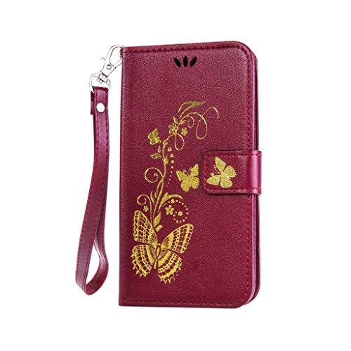 Fatcatparadise (TM) Custodia con design a flip per iPhone 5, 5S e SE, con protezione per schermo in vetro temperato, antigraffio, con retro morbido in silicone, stampa elegante di farfalla con fiori,  Deep Red