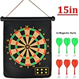 Cable World Latest Roll-up Magnetic Dart Board Set 15 Inch Double Sided Hanging Wall Dartboard With 6 Safety Darts Needles