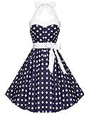 Zarlena Damen 50er Retro Rockabilly Polka Dots Petticoat Neckholder Kleider Navyblau mit weissen Dots Large 4250647201506k