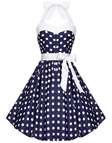 Zarlena Damen 50er Retro Rockabilly Polka Dots Petticoat Neckholder Kleider Navyblau mit weissen...