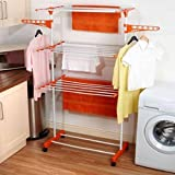 #4: BEST4U Made In India Life Time Use 3 Tier Mild Steel Floor Cloth Dryer Stand Racks Hanger (Orange)