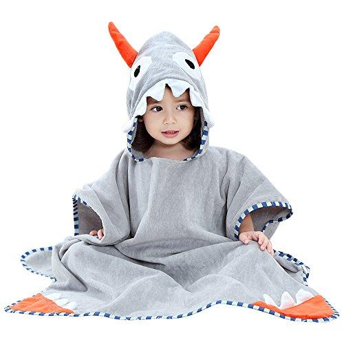SHNNA - Toalla de baño con capucha para niños de 0 a 7 años A Horn - Grey