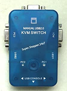 Manual 2 Port USB 2.0 KVM Switch + Cables 1 Keyboard Mouse Monitor with 2 PC
