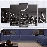 lbonb Pas De Cadre Toile HD Mur Art Décoration Modulaire 5 Pièces New York Moonscape Prints Brooklyn Pont Affiche Photos Peintures...