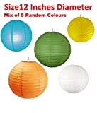 Bechnewala Round Paper Lamps / Lanterns - Mixed Colours- set of 5