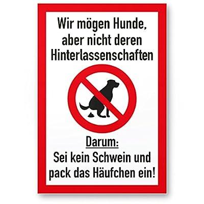 Kein Hundeklo / Keine Hundetoilette (weiß-rot) - Schild Hunde kacken verboten - Verbotsschild / Hundeverbotsschild, Verbot Hundeklo / Hundekot / Hundehaufen / Hundekacke