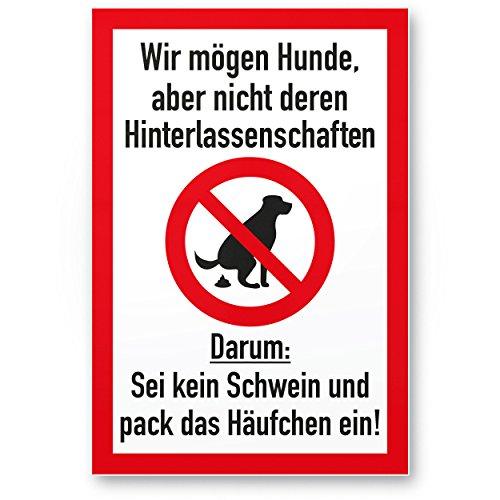 Kein Hundeklo/Keine Hundetoilette (weiß-rot) - Kunststoff Schild Hunde kacken verboten - Verbotsschild/Hundeverbotsschild, Verbot Hundeklo/Hundekot / Hundehaufen/Hundekacke