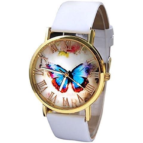 Tongshi Estilo Mariposa Moda Mujeres banda de cuero de cuarzo analógico reloj de pulsera(blanco)