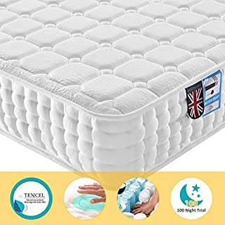 Lv. life Double TENCEL Fabric Mattress, 4FT6 Double Ergonomic Design with Memory Foam with 9-Zone Support System - 100 Nights Trial