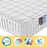 Lv. life Materasso in Tencel, Tessuto, Design ergonomico con Memory Foam e Molle insaccate con 9-Zone Support System – 100 Notti Trial, White, 4FT Small Double (120 x 190 x 22cm)