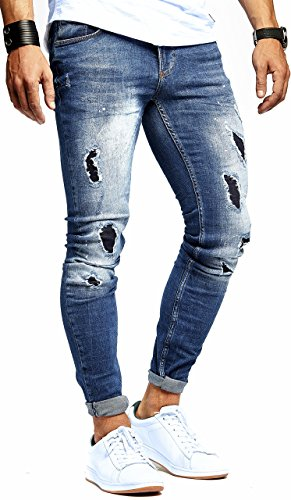 LEIF NELSON Herren Jeanshose destroyed Jeans Hose Stretch Blau Denim Slim Fit LN9905BL; W30L32, Blau