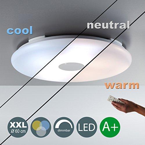 36W LED Deckenleuchte XXL Ø 60cm 3500LM Warmweiß 3000-6000K Wohnzimmerleuchte Panel Dimmbar Deckenlampe Inkl. LED-Platine Küche Fernbedienung Nachlichtfunktion Timerfunktion 1 Flammig Rund EEK A+