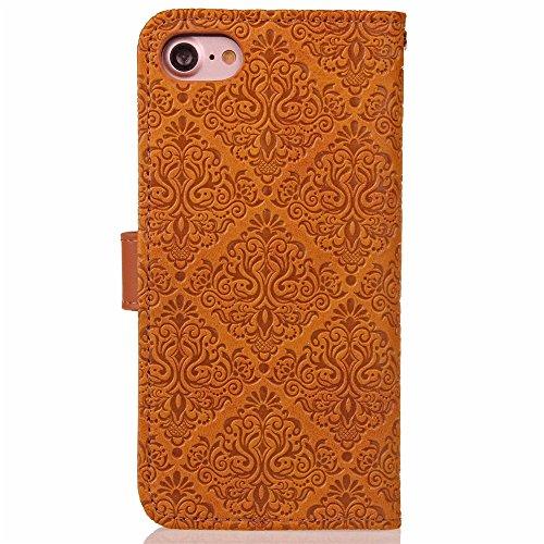 iPhone 7 4,7 Coque, Voguecase Étui en cuir synthétique chic avec fonction support pratique pour Apple iPhone 7 4,7 (Fresques européennes-Gris)de Gratuit stylet l'écran aléatoire universelle Fresques européennes-Kaki