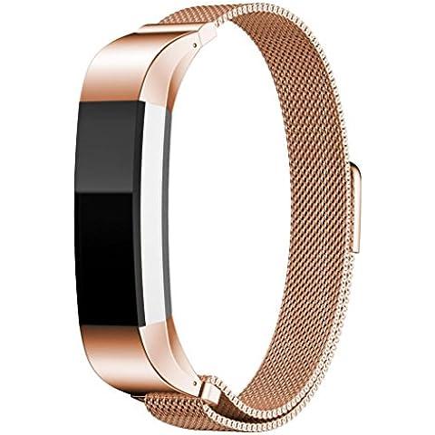 Fitbit Alta, LHWY Milanés Magnético Bucle Banda de Acero Inoxidable (Oro de Rose)