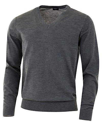 agon - Premium Herren Strick-Pullover, extrafein, 100% Merino-Wolle, V-Ausschnitt, Total-Easy-Care Dunkelgrau-Melange 50/M