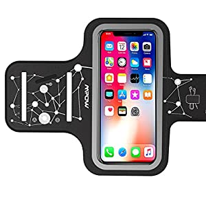 Mpow Handy Sportarmband iPhone, Handy Armtasche, Schlüsselhalter, Verlängerungsband, Sportarmband für Jogging, Radfahren, Wandern