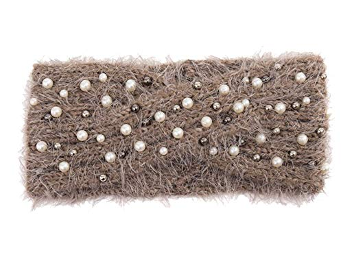 Treend24 Elegant Damen Strick Stirnband mit Perlen Haarband Weich Winter Herbst Stirnband Sport Fitness Jogging Outdoor Headband (Khaki)