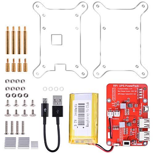 Batteria Raspberry Pi, UNIROI Scheda di Espansione Batteria al Litio per Raspberry Pi 3, Alimentatore con Cavo USB per Pi 3 2 Modello A A + B B + 3800mAh 5V / 2A (Versione Aggiornata KY68C)