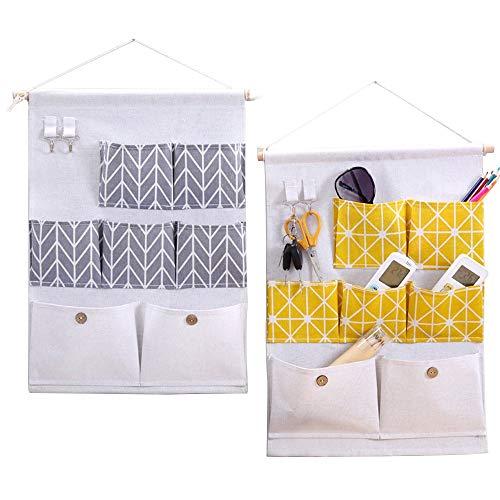 Aufbewahrungsbeutel 2 Stücke Baumwollgewebe Wand Tür Schrank Hängen Aufbewahrungstasche Fall 7 Taschen mit Haken (7 Taschen) Gelb und Grau für Zuhause -