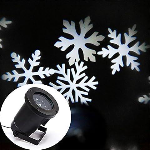 Locisne Móvil LED del copo de nieve / de las estrellas del proyector de luces de inundación de interior / al aire libre del paisaje del proyector de la lámpara de vacaciones del árbol de navidad jardín Patio Etapa decoración de la casa IP44 (copo de nieve blanco frío plug2 #)