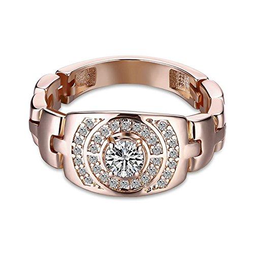 Amdxd gioielli placcato oro rosa anelli per donna oro rosa fedi nuziali cerchio zirconia dimensione 20