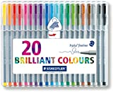 Staedtler 334 Triplus Fineliner Superfine Point Pens, 0.3 mm - Assorted Colours, Pack of 20