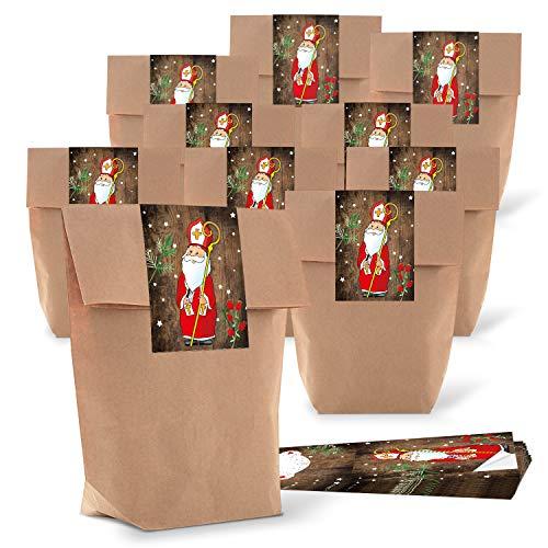 50 kleine braune natur Kraftpapier Papiertüten 16,5 x 26 x 6,6 cm + 50 Weihnachts-Aufkleber beschreibbar HEILIGER NIKOLAUS SANTA rot weiß Weihnachten Geschenk-Verpackung bio zum Befüllen