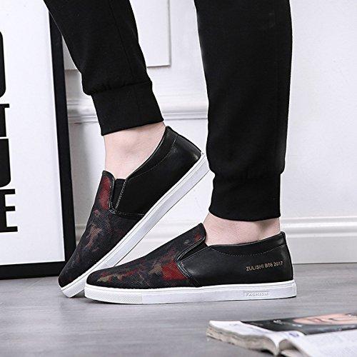Mocassin homme basket mode plat graffiti chaussure sans lacet respirant noir rouge