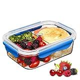 SELEWARE Frischhaltedosen Mikrowelle Lunchbox 100% bpa frei Luftdicht Auslaufsicher mit 3 fächern sicher für Gefrierschrank und Spülmaschine,Tritan (1,20 Liter, Rechteck, Blau)