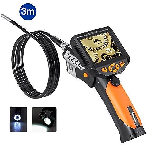 Endoscopio LCD, Potensic® 2MP HD CMOS endoscopio Controllo sensore con schermo LCD Display- Nero + Giallo (3M)