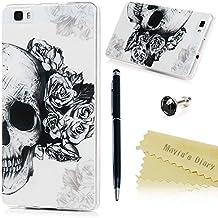 Huawei P8 Lite Funda Silicona Gel TPU Ultra Slim - Mavis's Diary Suave Carcasa Case Bumper Shock-Absorción y Anti-Arañazos - Cráneo y Flor