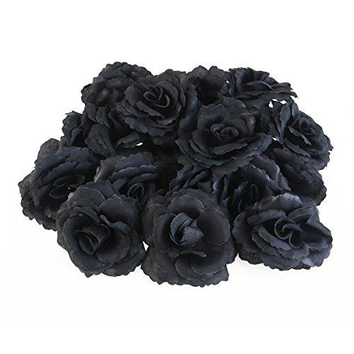 Rosa nera ounona rose artificiali in nere di seta per decorazione fai da te 50pcs