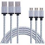 [TRES CABLES] SENDIS 3M Cable Micro USB de Nylon para Samsung, HTC, Motorola, LG, Huawei, Tabletas, Cámaras y Otros Dispositivos Android