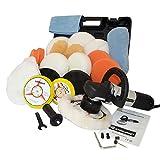 Kingbarney XL Profiset - Exzenter Poliermaschine / Polierer inkl. Koffer 710 Watt Set 2 + Polierschwamm Zubehörset - 26 Teile - Schleifmaschine - Auto polieren