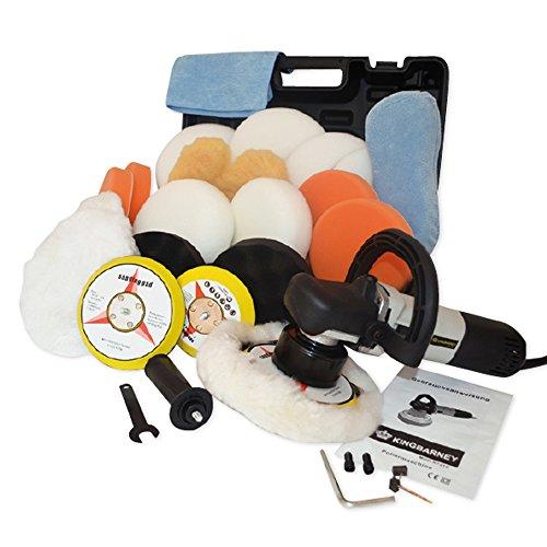 #Kingbarney XL Profiset – Exzenter Poliermaschine / Polierer inkl. Koffer 710 Watt Set 2 + Polierschwamm Zubehörset – 26 Teile – Schleifmaschine – Auto polieren#