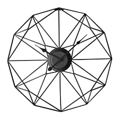 Idea Regalo - Winni43Julian 50CM Orologio da Parete Grande Orologio da Muro Vintage Orologio da Parete Silenzioso Metallo Orologio da Muro Design Moderno Orologio da Parete Shabby (Nero)