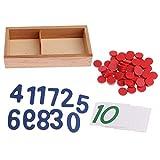 D DOLITY Montessori Mathe Material Nummerkarten Zahlenkarten mit Chips Kit